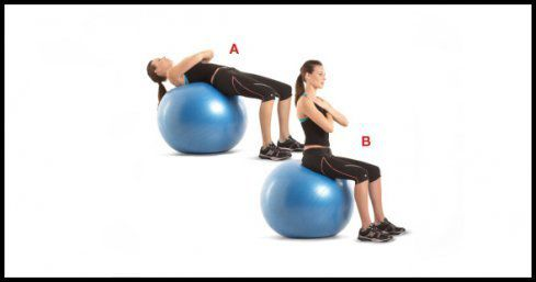 Stability Ball Walk-up Crunches